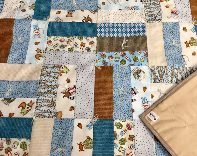 "Featured listing image: Handmade - Hand Tied ""Forest Friends"" Baby Quilt in Blue - Portion of Sale Goes to Charity!"