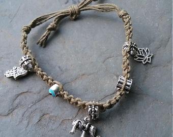 Spiritual charm hemp bracelet