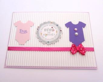 Girl - Pink Purple Bodysuit designs birth congratulations card