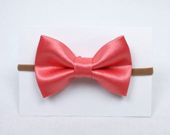 Coral Satin Hair Bow