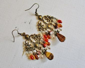 Gold jasper chandelier earrings