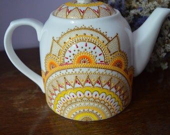 Fine porcelain teapot Gift for grandma Hand painted teapot Personalized teapot Home decor Kitchen decor Ceramic teapot Gift for women