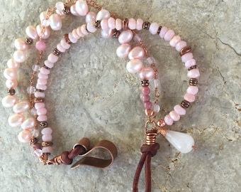 Pink Opal, rose quartz and freshwater pearl multistranded bracelet with leather and copper clasp