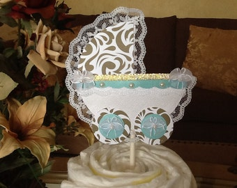 Gold and teal carriage cake topper/Neutral baby shower cake topper