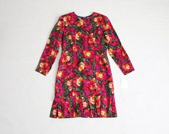 floral silk dress / 80s floral dress / pleated dress