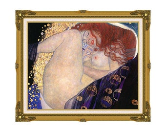 Danae Gustav Klimt Framed Nude Woman Canvas Wall Art Print Painting Reproduction Giclee - Sizes Small to Large - M00544-547