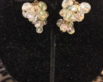 Vintage Crystal Cluster Dropped Clip Earrings