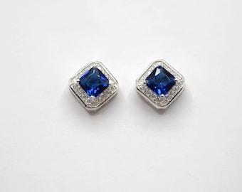 Sapphire Earrings| Blue Sapphire| CZ Sapphire Earrings| Square Earrings September Birthstone