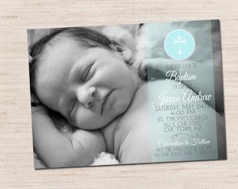 Baptism, Confirmation, First Communion, Photo Invitation Announcement, 5 x 7 PRINTABLE DIGITAL FILE