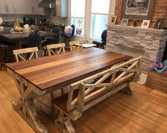 Multi Color Trestle Farm Table, Bench, and Chair Set w/Detachable Breadboard Ends