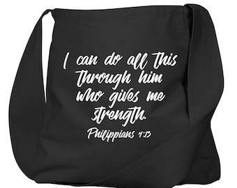Philippians 4:13 Black Organic Cotton Slouch Bag