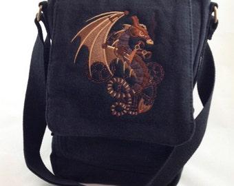 Stunning steampunk wyvern on canvas tech bag