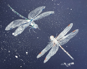 Two dragonflies flying together, insect, couple, dragonfly art, ORIGINAL WATERCOLOR+GOUACHE painting