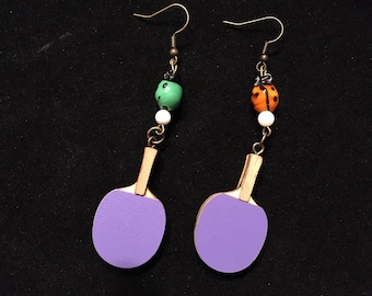 Ladybug and paddle earrings