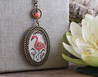 Pink flamingo necklace, Cross stitch flamingo pendant, Coral pink bird pendant, Bird necklace, Cross stitch jewelry, Embroidered necklace