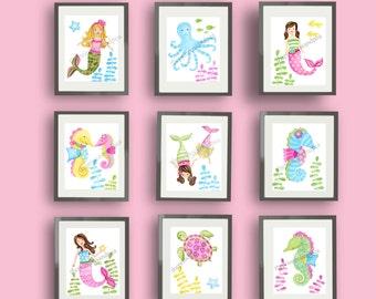 Mermaid art prints, mermaid bathroom art, mermaid bedroom wall art decor, mermaid pictures