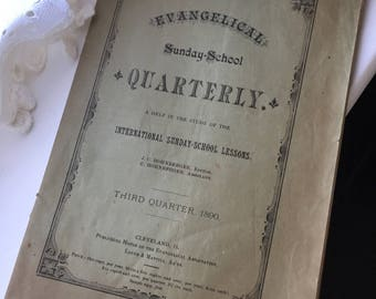 Antique1890 Evangelical Sunday School Quarterly Lesson Book