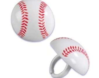 Baseball Cupcake Ring Toppers/Favors BIRTHDAY SUPPLIES-NEW