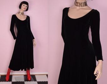 90s Black Velvet Maxi Dress/ Medium/ 1990s/ Long Sleeve