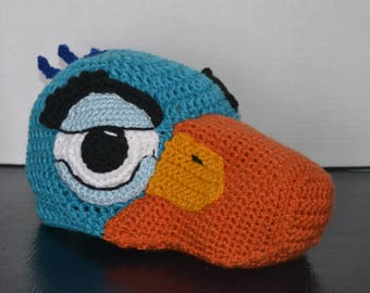 Crochet Zazu the Hornbill Bird Hat - crochet Lion King hat costume - crochet animal hat - hats for boys - hats for girls - Halloween costume