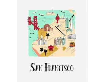 San Francisco Map / Illustrated Map / San Francisco Art Print