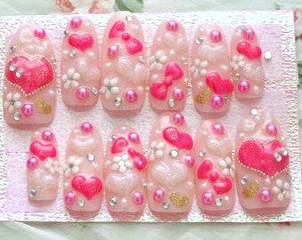 Kawaii nails, Gyaru, 3D nails, deco nails, long, pink, hearts, bows, flowers, gems, blingy, Japanese nail art