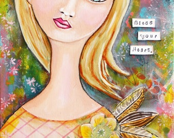 Bless Your Heart Original Angel Art Mixed Media Painting on 9 x 12 Gallery Wrapped Canvas