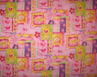 Hearts and flowers on pink fabric 1 yard