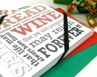 Holiday Card Set 6, It's a Wonderful Life, Housewarming Cards, Christmas Cards, Bread Salt Wine & Prosperity, Jimmy Stewart Quote JS101