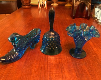 Set of Three (3) Vintage 1960s Fenton Glass Blue Hobnail Items.  Boot, Ruffled Vase, Bell