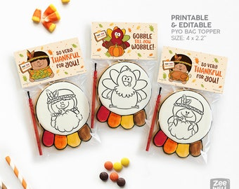 Thanksgiving Bag toppers, Bag topper, PYO Cookie, Thanksgiving Collection, Pilgrims, Indians and turkey