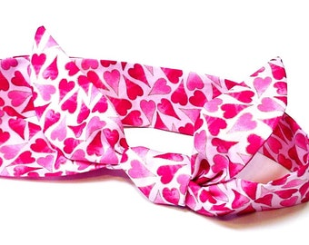 Cooling Head Scarf, Pink Heart Neck Cooler, Stay Cool Tie Spa Wrap, Heat Relief Bandana, Gel Headband, Hairband, Valentine Gift iycbrand