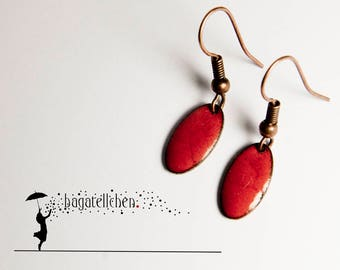 red enamel earrings, 1cm