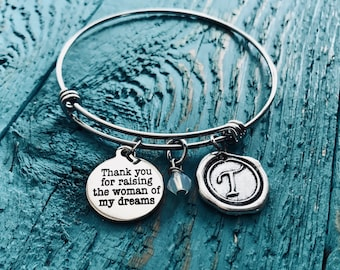 Thank you for, raising the the woman of my dreams, Silver Bracelet, Charm Bracelet, Mother of Bride, Adjustable, Expandable, Wedding Jewelry