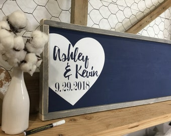 Alternative Wedding Guest Book  - Rustic Wedding Guest Book - Wood Wedding Sign - Custom Wood Guestbook - Personalized Wedding Book - Navy