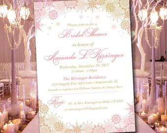 "Winter Bridal Shower Invitation Template - Snowflake Wedding Shower Template ""Ornate Snowflakes"" Blush Gold Snowflake Shower Invitation"