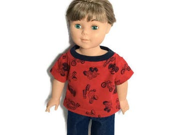 18 Inch Boy Doll T-shirt with Jean Shorts, Red Dirt Bike, Off Road T-shirt and Blue Denim Shorts, 18 Inch Boy Doll Clothes, One of a KInd