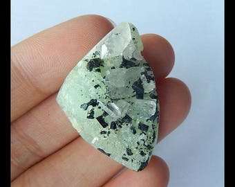 Nugget Babingtonite With Prehnite Gemstone Cabochon ,34x24x14mm,12.22g(f0991)