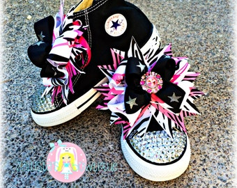 Rocker Girl Blinged Out Converse Shoes with Shoe Bows