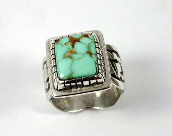 Pilot Mountain Turquoise and Sterling Silver Ring, Size 8.  Southwestern jewelry, modern jewelry, boho ring