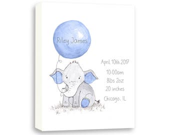 Watercolor Elephant Canvas Art, Personalized Birth Stat Gift, Gift From Gammy, Birth Stat EBE1005C