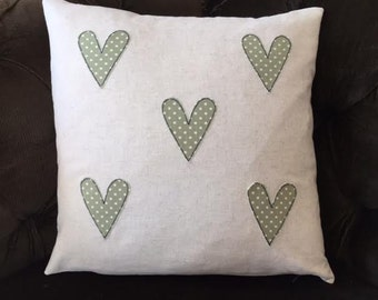 Linen Hearts Applique Cushion Cover