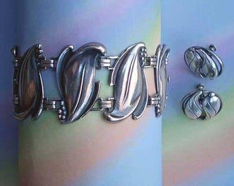 Vintage 50s Sterling Silver Leaf Bracelet Earrings