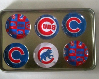 Chicago Cubs Fridge Magnets - Chicago Cubs Baseball Refrigerator Magnets Set of 6