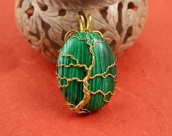 Tree of life pendant yggdrasil the world tree malachite gold plated wire tree of life pendant green tree pendant christmas tree pendant yggdrasil world tree pendant aloadofball Choice Image