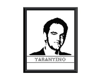 8x10 counted cross stitch PDF PATTERN Quentin Tarantino