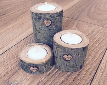 Rustic wood candle holders. Wedding. Vintage.