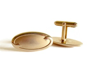 Vintage Swank Cuff Links Art Deco Style Gold Toned Scrolled and Oval Shaped