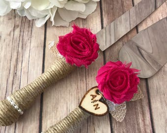 Rustic Wedding cake knife/wedding decoration/Cake cutting set/Rustic wedding/Vintage Wedding Knife Set,YOUR CHOICE COLOR,pale pink Wedding