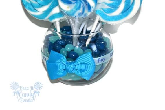 Small Round Blue Lollipop Candy Baby Shower Centerpiece Blue